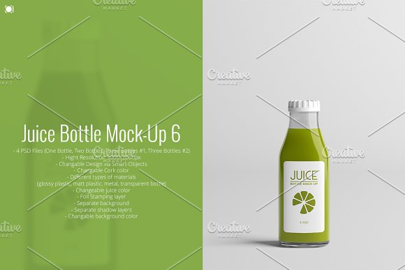 Juice Bottle Mock-Up 6-Graphicriver中文最全的素材分享平台