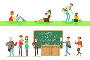 University Education, Students And Professors Set Of Illustrations
