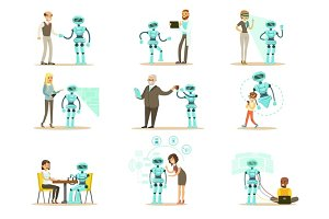 Smiling People And Robot Assistant, Set Of Characters And Service Android Companion