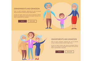 Grandparents and Grandson Little and Grown up Set