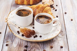 Coffee and croissants breakfas