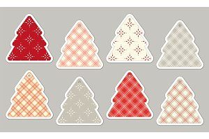 Set of cute vintage Christmas price tags in shabby chic style
