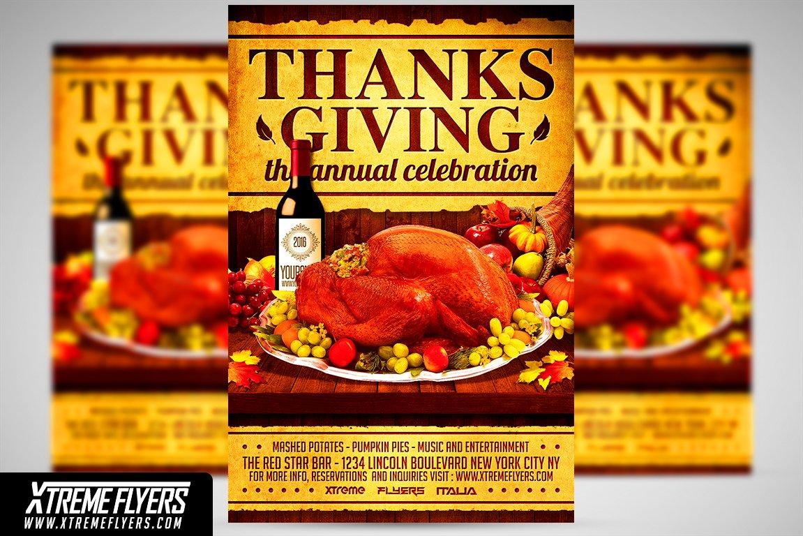 Thanksgiving Flyer Template Flyer Templates Creative Market