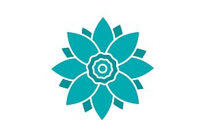 Lotus flower glyph color icon