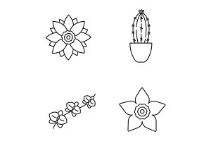 Flowers linear icons set