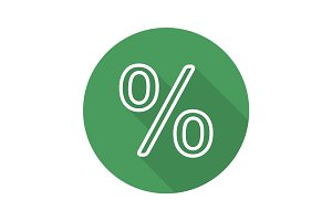Percent sign. Flat linear long shadow icon