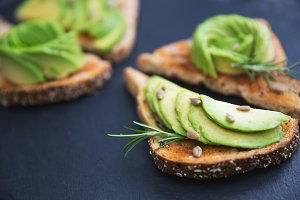 Avocado on toast breakfast snack