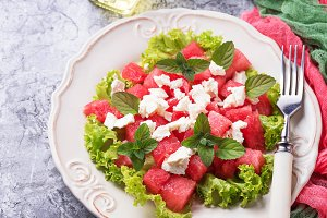 Salad with watermelon and feta cheese