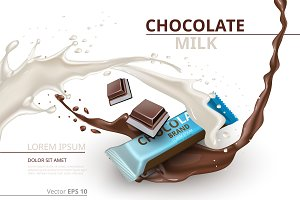 Vector chocolate bar milk mockup