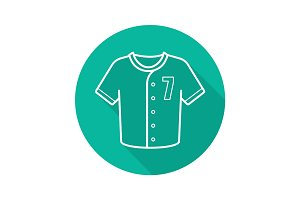 Baseball player's shirt flat linear long shadow icon