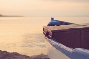 Wooden Blue Boat On The Beach