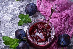 Jar with plum jam