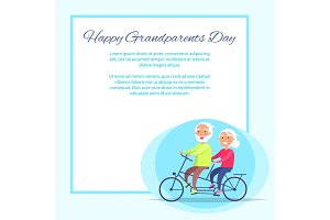 Happy Grandparents Day Senior Couple on Bicycle