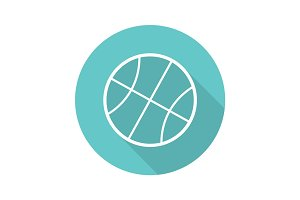 Basketball ball flat linear long shadow icon