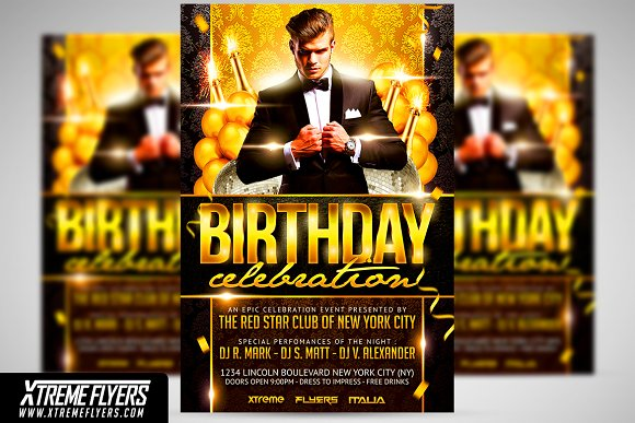Birthday flyer template flyer templates creative market birthday flyer template flyers maxwellsz