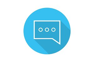 Chat box flat linear long shadow icon