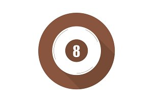 Billiard eight ball flat design long shadow glyph icon