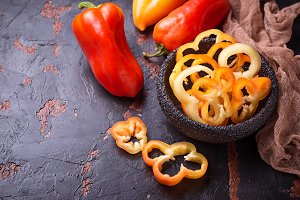 Sweet  bulgarian pepper on dark rusty background