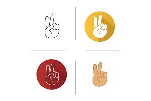 Peace hand gesture icon