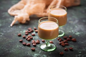 Irish cream liqueur and coffee beans