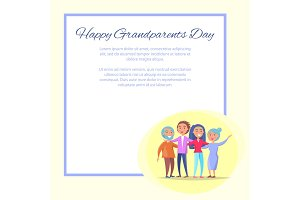 Grandparents Day Poster Senior Couple and Children