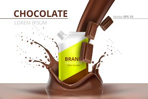 Vector chocolate package mockup