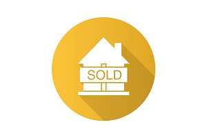 Sold house flat design long shadow glyph icon