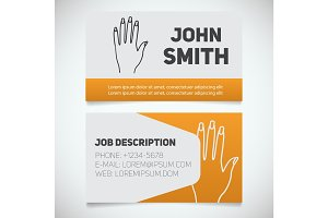 Business card print template with manicure logo