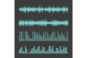 Vector Sound Waveforms. Sound waves and musical pulse vector illustration.