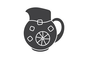 Lemonade jug glyph icon