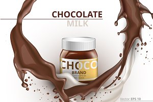 Vector chocolate bottle mockup