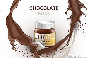 Vector chocolate bottle mockup
