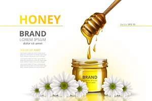 Vector honey camomile mockup