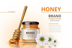 Vector honey bottle dipper mockup