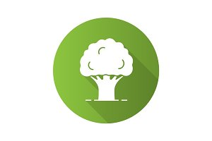 Oak tree flat design long shadow glyph icon