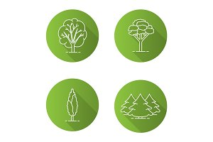 Trees flat linear long shadow icons set