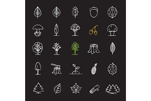 Tree types chalk icons set