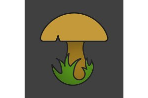 Mushroom in grass color icon
