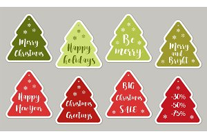 Set of cute vintage Christmas price tags with lettering