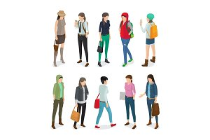 Student or College Girl Cartoon Characters Set