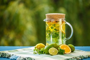 Citrus fruit and herbs infused water