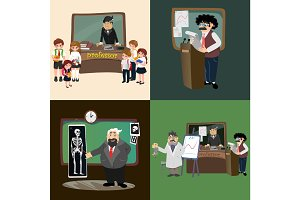 professor teaching at the blackboard, university education concept teacher with table in college or school vector illustration, character of science person, man reading lecture