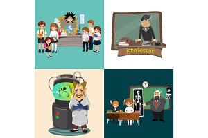 professor and student illustration, Girl and boy with teacher in college classroom, vector campus university, education at school concept, lecturer teaching students