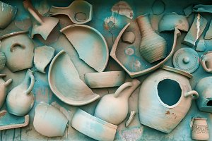 clay tableware on a wall