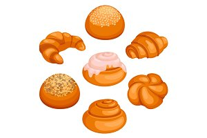 Set of bread rolls isolated illustration on white