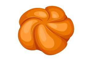 Closeup of round knot-shaped bread rolls isolated illustration