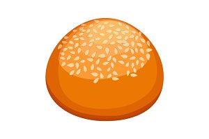 Round bun covered in sesame realistic style illustration