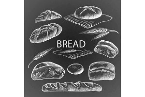 Bread items collection hand drawn illustration on dark grey