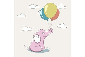 Cute pink elephant playing with balloons