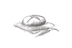Hand drawing of round bread isolated illustration on white